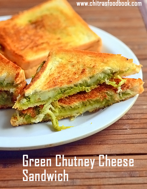 Green Chutney Cheese Sandwich Recipe  - How To Make Chutney Sandwich