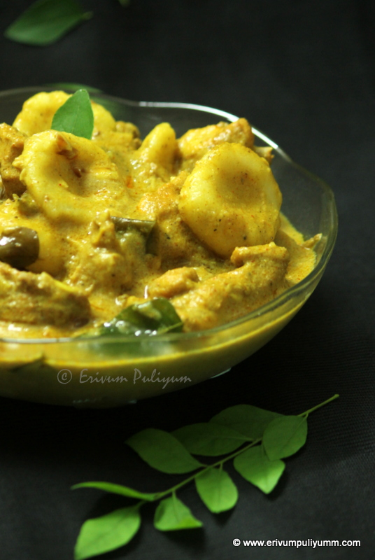 Kozhi Pidi | Rice Dumpling in Curried Chicken (Step by Step Pics)