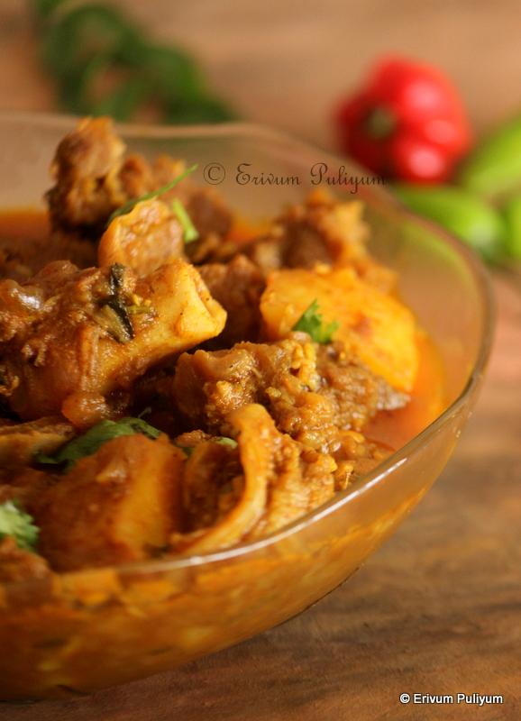 Kerala Style Mutton- Potato(Kizhangu) Curry | Aloo-Gosht (Step by Step Pics)