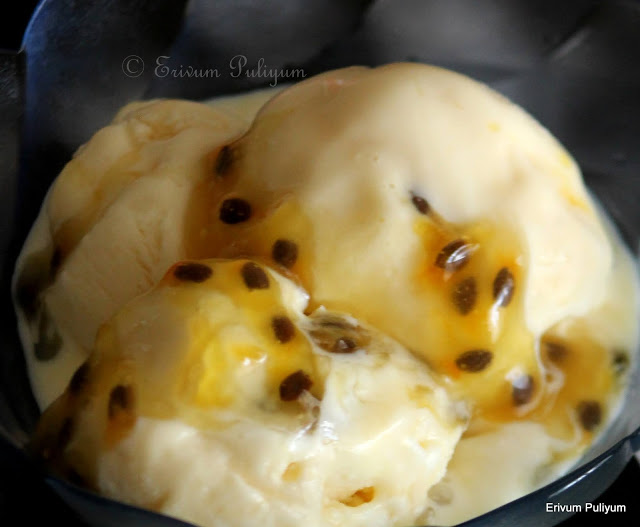 Passion Fruit Ice cream (Eggless)