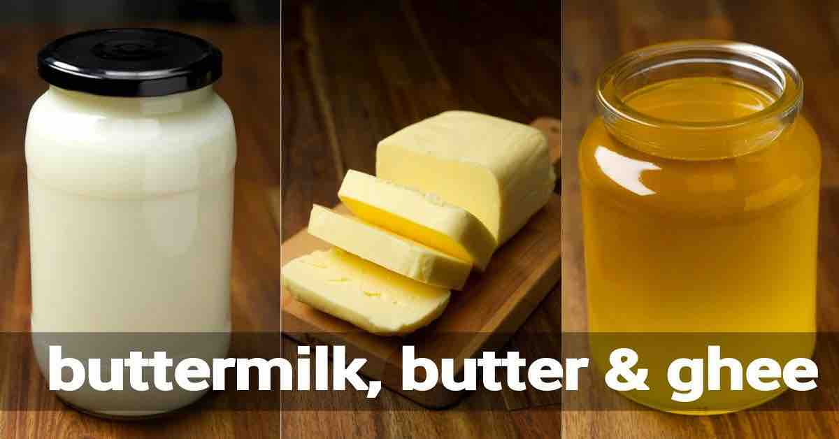 how to make butter recipe, ghee recipe, buttermilk & whipped cream from cream