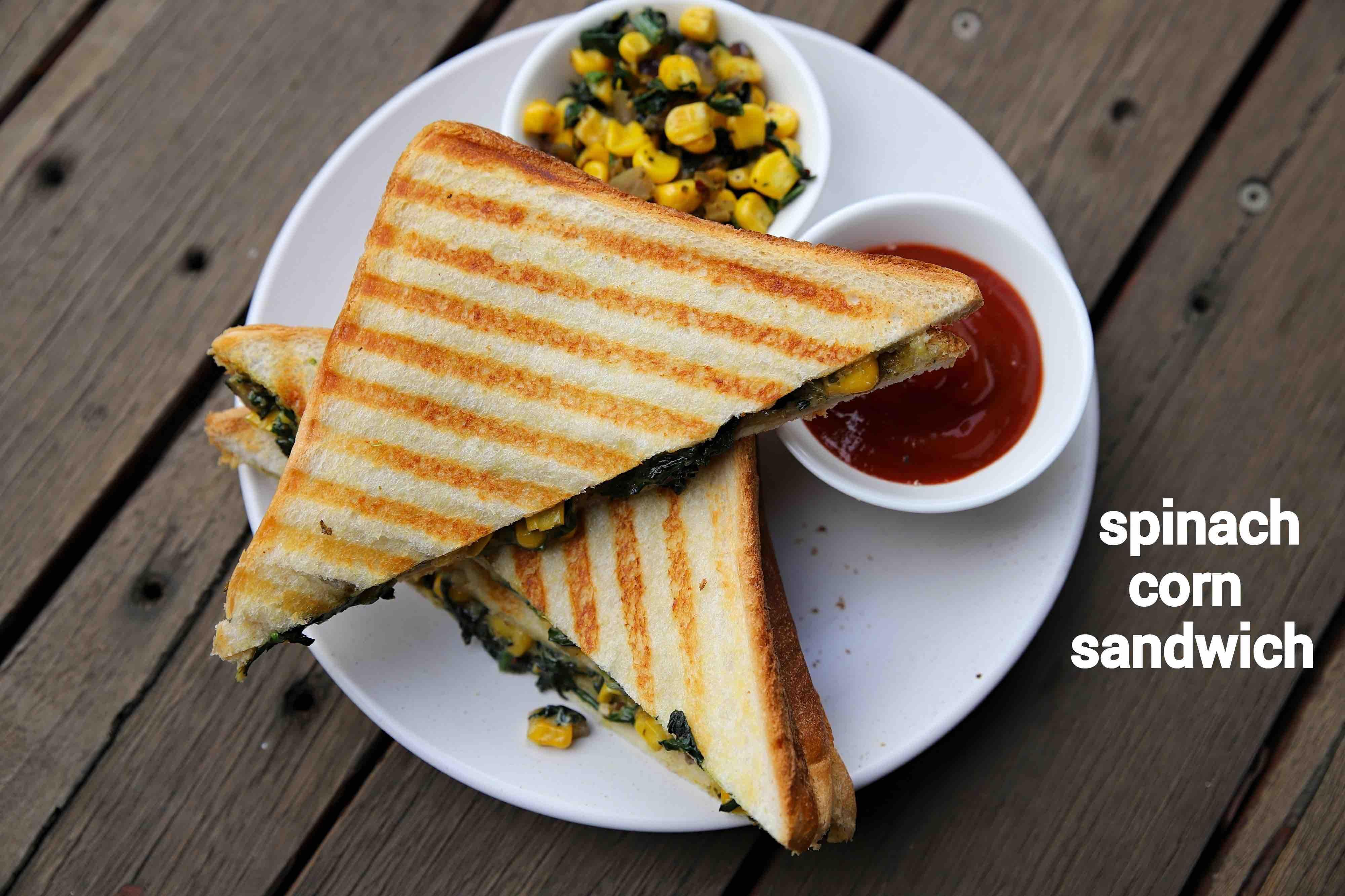 spinach corn sandwich recipe | spinach and corn sandwich recipe