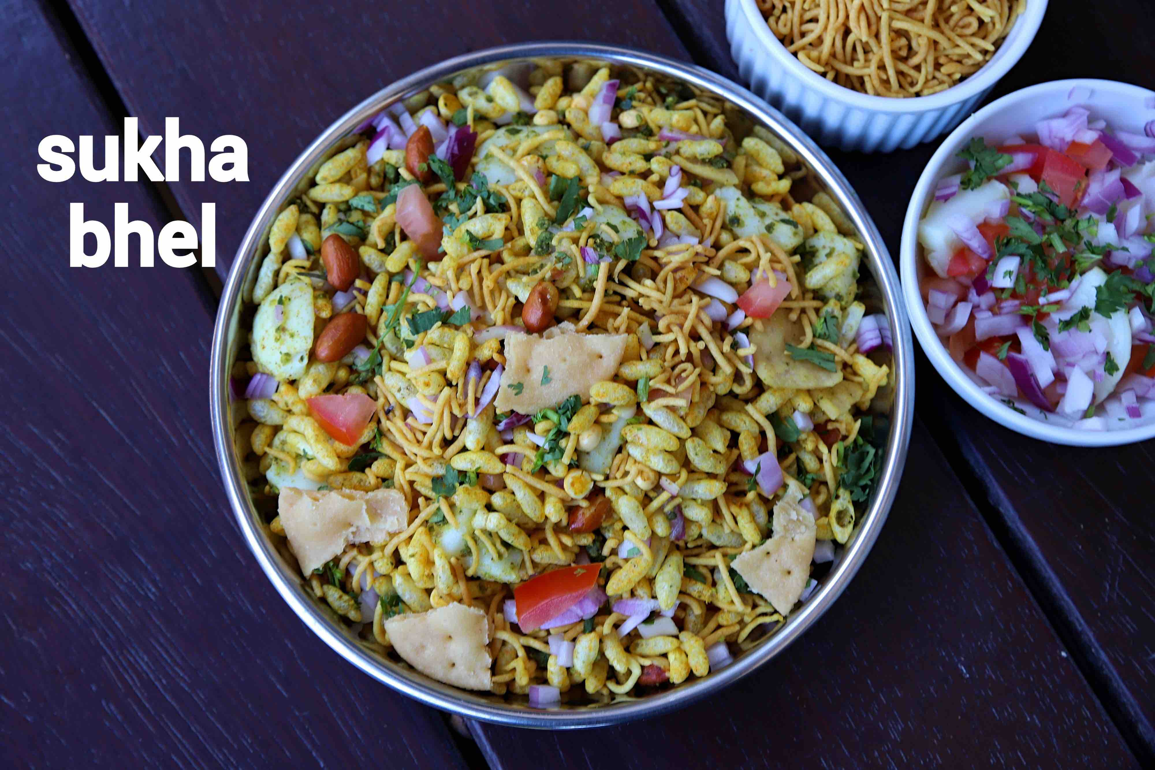 sukha bhel recipe | dry bhel puri recipe | sukka bhel puri