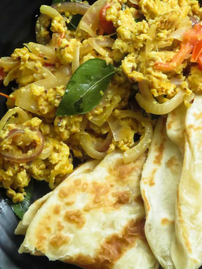 spicy scrambled eggs with onions.