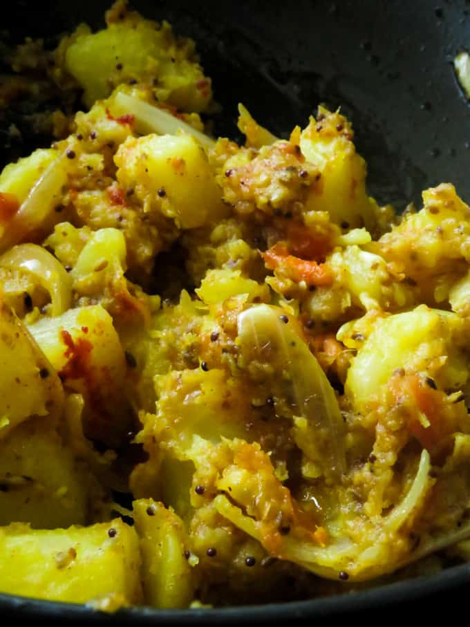 Indian Bombay potatoes(cumin-coriander spiced).