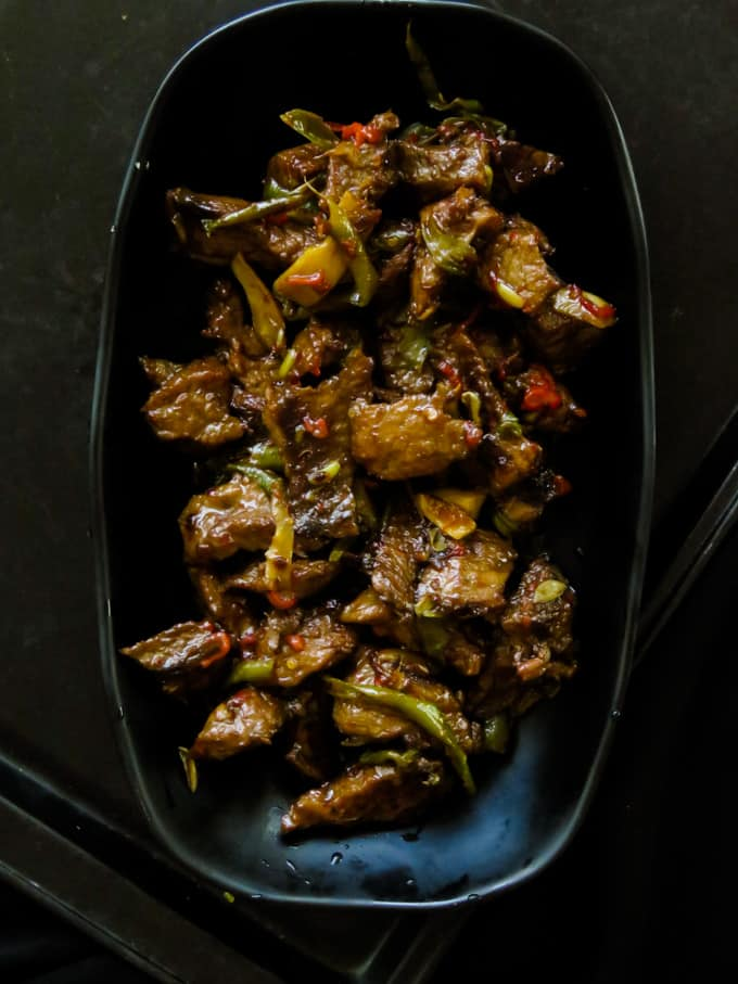 crispy beef stir fry in ginger-pepper sauce.