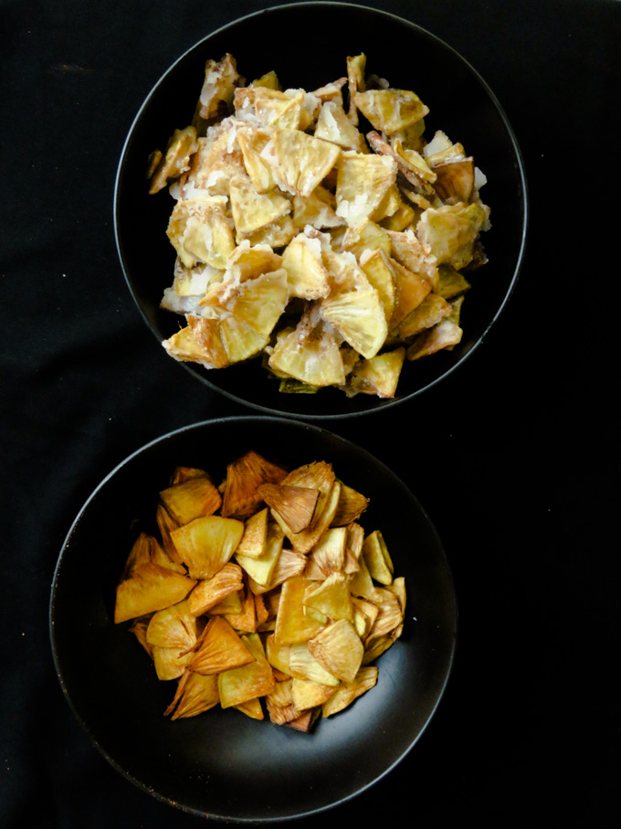 Fried breadfruit two ways(Sweet and spicy)