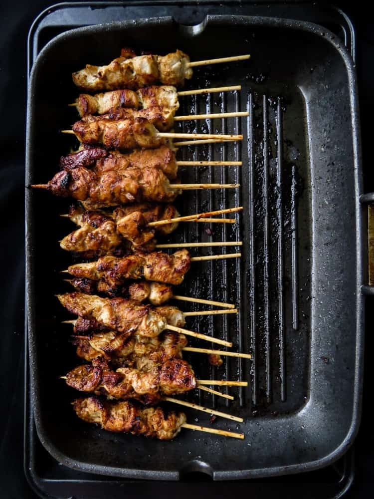How to make stove-top/grill pan chicken satay.