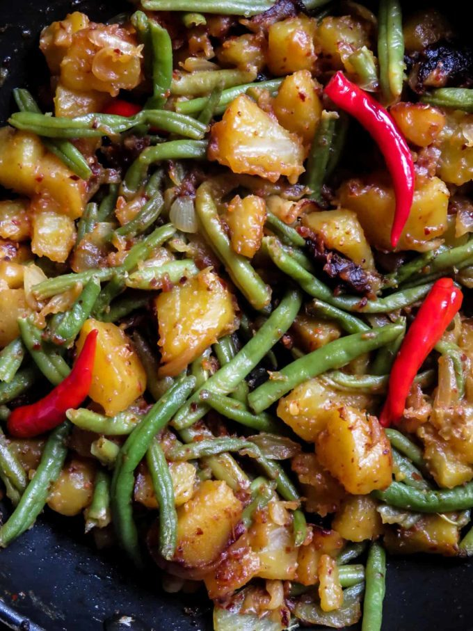 Sri Lankan spicy potato, green bean stir-fry.