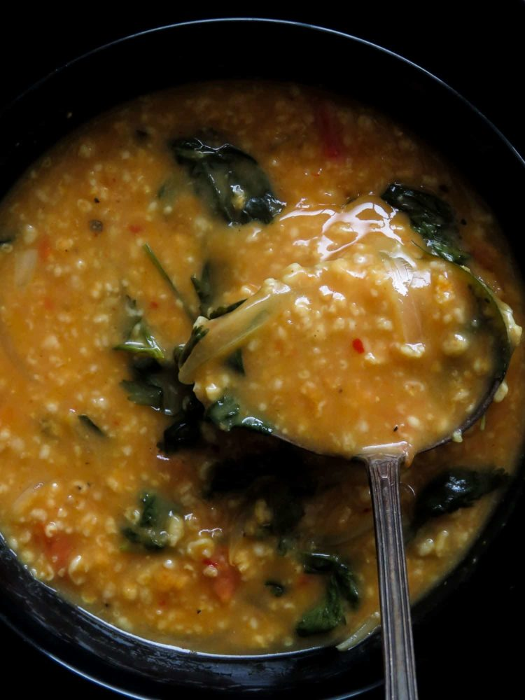 spicy-curried oat soup(healthy and filling).