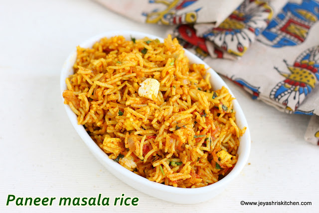 Paneer masala rice, easy lunch box recipes