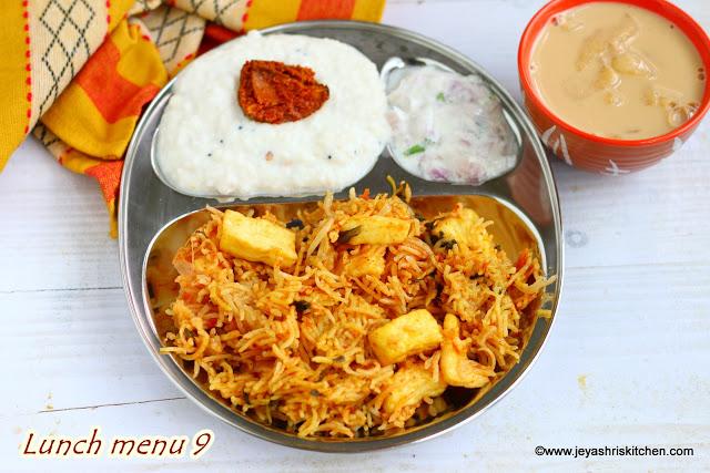 Paneer Biryani, Caramel payasam Lunch Menu 9