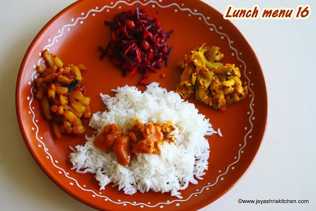 Pumpkin kuzhambu, Potato fry, lunch menu 16