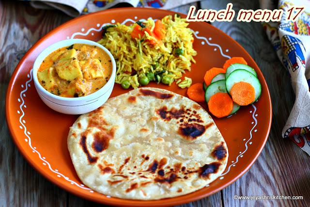 Paneer Methi makhani, masala rice, lunch menu 17