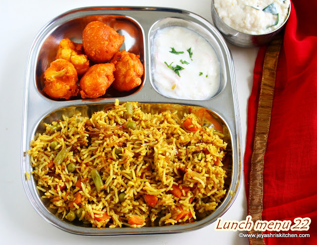Hyderabadi Veg Dum Biryani, cauliflower pakoda, Lunch menu 22