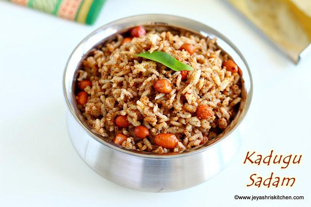 Kadugu sadam recipe, South Indian rice varieties