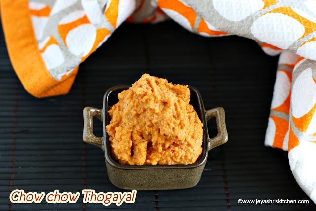 Chow chow thogayal, Chow chow chutney recipe