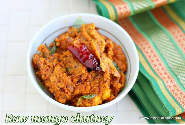 Raw Mango Chutney recipe , Mango Thogayal