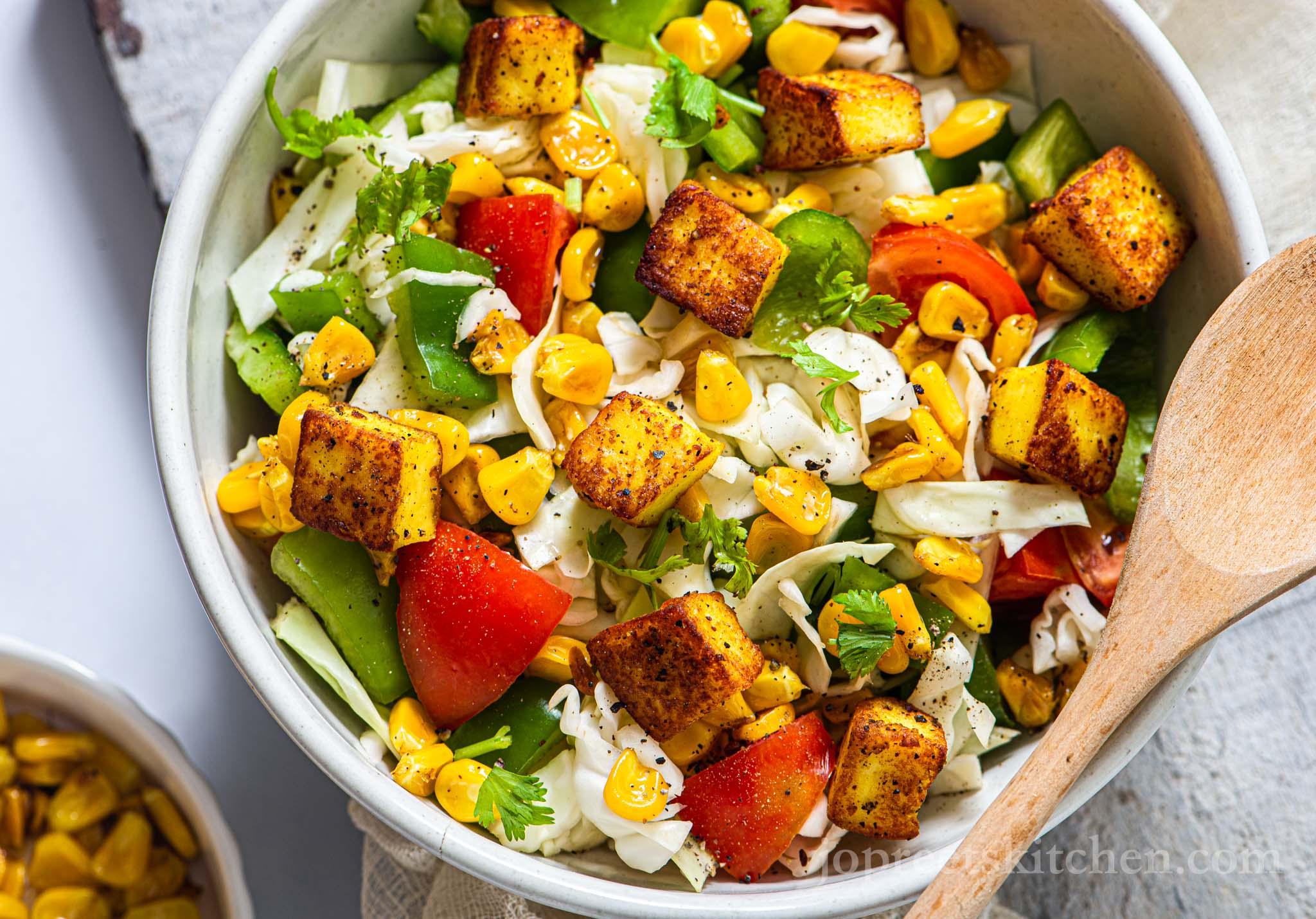 Sweet Corn Paneer Salad | Healthy Indian Salad Recipe