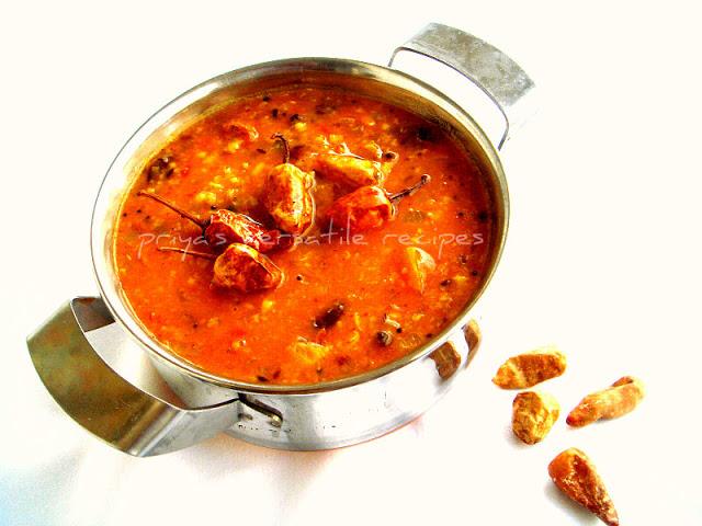 Urad Tamatar Dal with Sun-dried Buttermilk Chillies