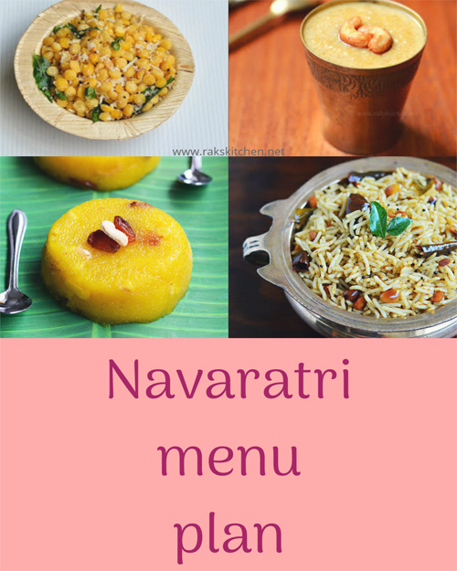 Navaratri menu plan for 9 days