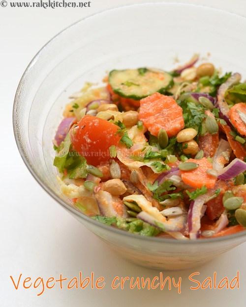 Vegetable crunchy salad with carrot ginger vinaigrette