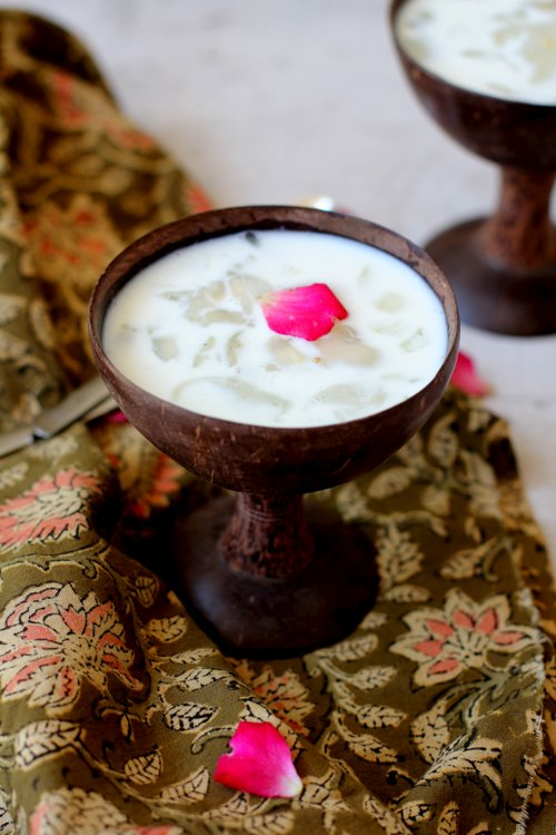 Nongu paal, taati munjalu or toddy palm seeds summer dessert