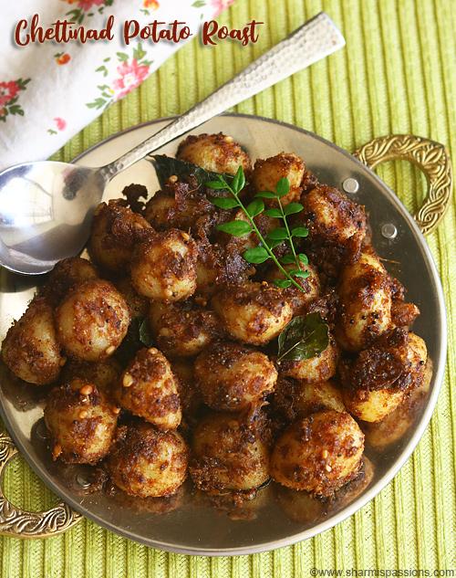 Chettinad small potato roast recipe, Chinna urulai kilangu roast recipe