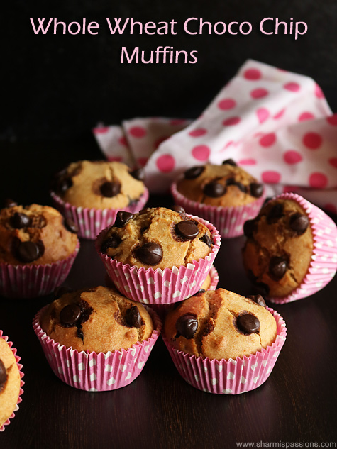 Whole wheat chocolate chip muffins recipe, Easy chocolate chip muffins
