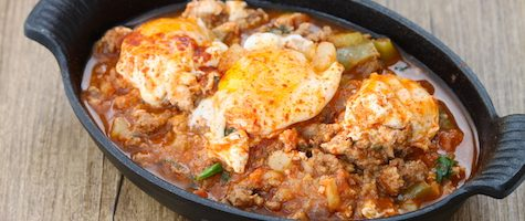 Instant Pot Easy Shakshuka- Poached Eggs in Ground Beef Sauce