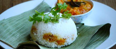 Shrimp Stuffed Puttu- Prawns Puttu- Chemmeen Puttu-Kerala Puttu