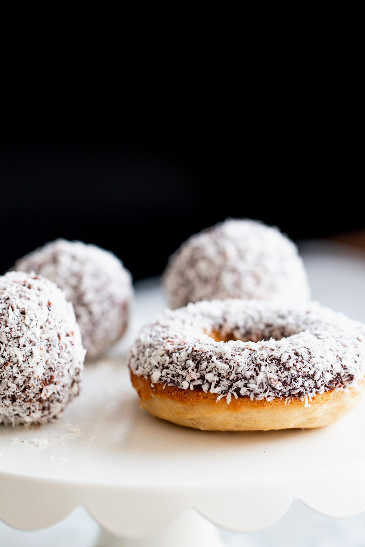 Vegan Baked Lamington Donuts & Donut Holes