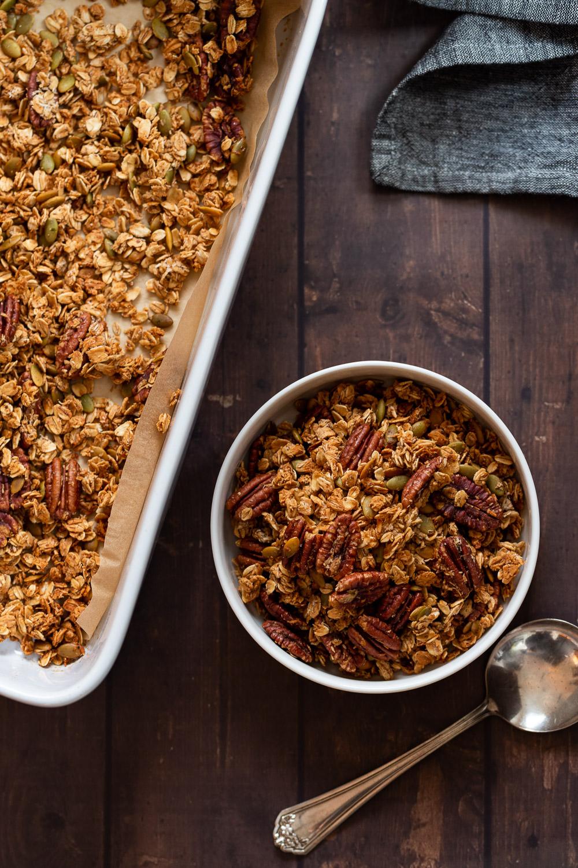 Cardamom Maple Pecan Granola Recipe (No Oil)