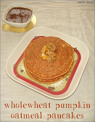 Wholewheat Pumpkin Oatmeal Pancakes with Dates Syrup