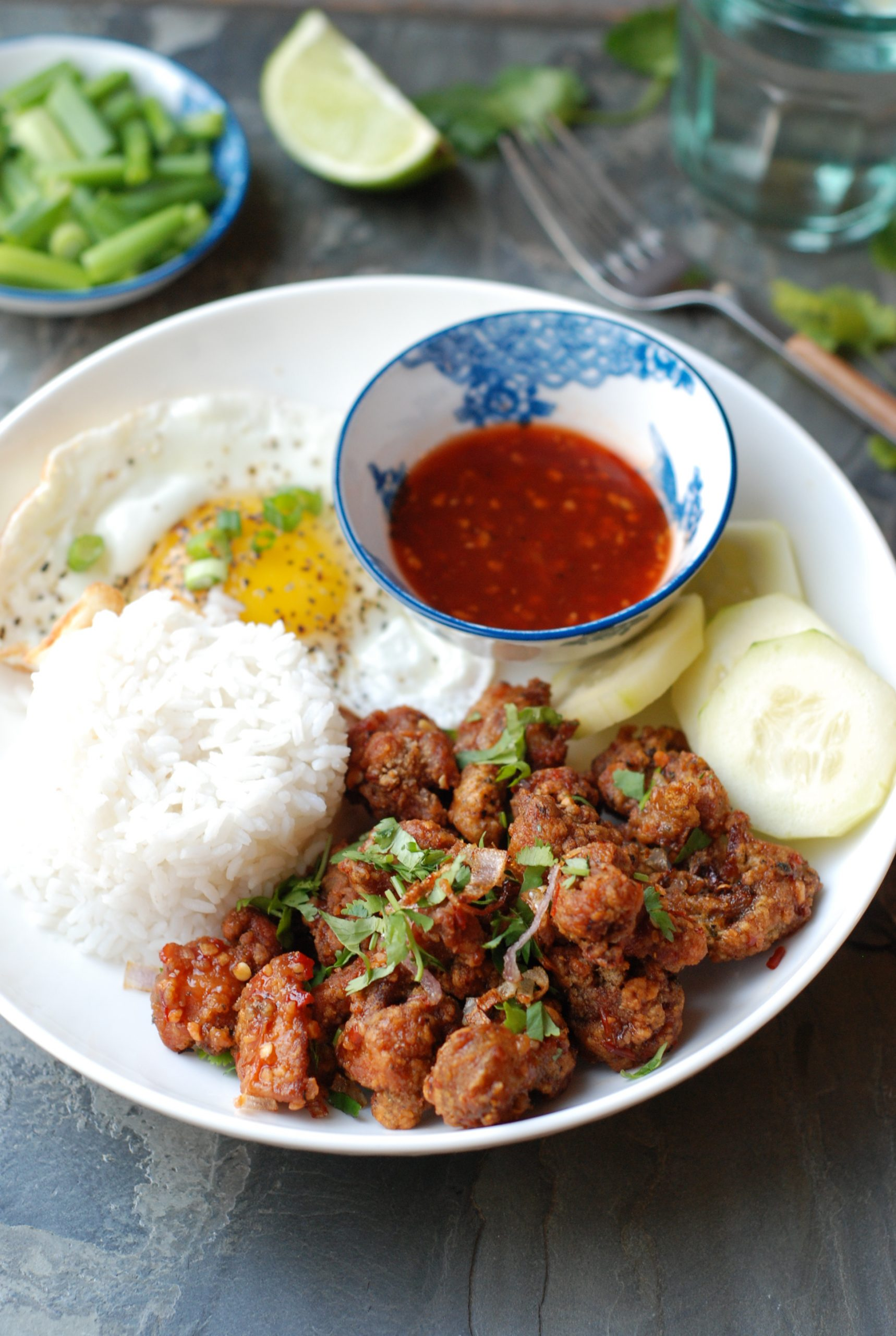 Thai Fried Chicken with a Sweet and Spicy Chili Lime Dipping Sauce